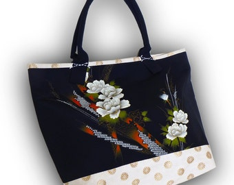 Hand Paint  -  One-Of- A- Kind! Kimono Recycled Large Tote Bag - Black/ Peony