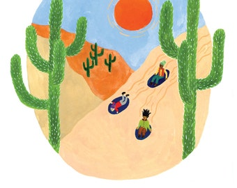 Desert Sledding Card / Set of 8