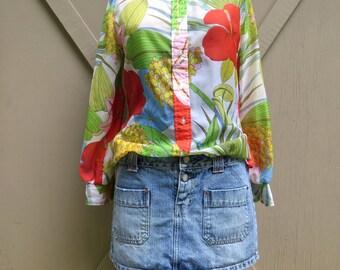 70s vintage Vivid Tropical Floral Print Sheer Blouse / Judy Bond