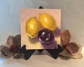 Original Oil Painting Paintings Buy Food Kitchen Wall Art Yellow Lemon Plum Still Life Birthday gift ideas
