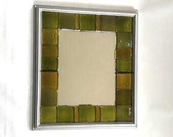 Silver Green - Upcycled Bottle Glass Mosaic Wall Mirror
