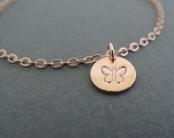 Rose Gold Bracelet Butterfly Bracelet Charm Bracelet thin dainty bracelet best friend birthday gifts