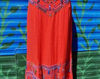 Beaded maxi skirt, African Skirt, Festival skirt, Cotton maxi skirt, Handmade skirt, size M / L