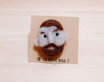 Beard man needle felt pin! ニードルフェルド 鬍子男人羊毛氈別針