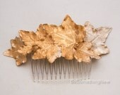 Golden Leaf Hair Comb Gold Hair Accessory Wedding Hair Comb, Gold Bridesmaids Headpiece Hair Clip