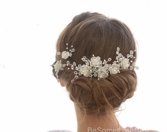 Vintage Flower and Bead Bridal Headpiece Comb Floral Vintage Wedding Hair Comb and Bobby Pins Beaded Headpiece with Pearls and Crystals