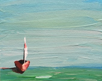 The Red Sailboat, Nautical, Seascape,  Abstract, Original Acrylic Painting on 5x7 Canvas Board, Dainty Painting, Miniature