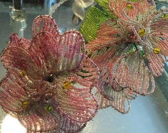 Crafted Glass Beaded Flower Pink Flowers Green Leaves Long Stem