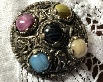 Vintage Signed Miracle Viking Celtic Agate Brooch Pin