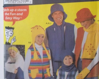Fleece Vests and Accessories Sewing Pattern Simplicity 5744 Unisex Child's Teens Adult Mittens Booties Hat Headband Scarf Neck Warmer UNCUT
