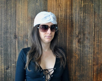 White Turban Hat / head scarf / hippie
