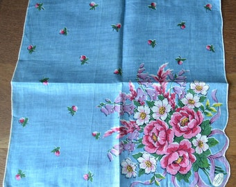 Unused Vintage Burmel Irish Linen Floral Handkerchief Pink Flowers