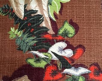 "Stunning Vintage 40s Woodland Barkcloth Fabric// Hollywood Glam Extraordinaire// Cotton Yardage// Upholstery// //45""x 92"" Panel"
