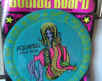 Vintage Zodiac Aquarius Board The Bulletin Board to Foretell Your Future Wall Hanging 60's 70's Astrology