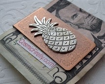 Pineapple Money Clip Copper Money Clip Steampunk Money Clip Victorian Tropical Tiki Design Men's Gifts Good Luck Gifts For Men Father's Day