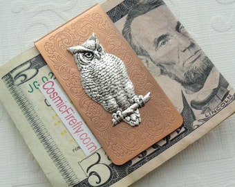 Victorian Owl Money Clip Copper Money Clip Silver Owl Men's Steampunk Money Clip Victorian Money Clip Gifts For Men Father's Day Men's Gifts