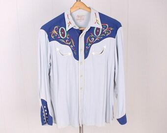 vintage H Bar C California RanchWear snap button western shirt embroidered 1950s Blue Grey cowboy shirt top size L