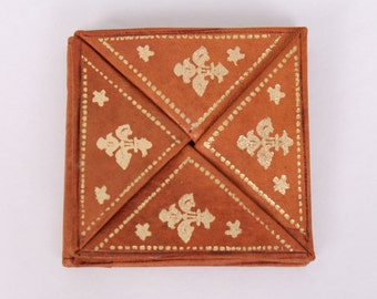 vintage moroccan leather coin purse wallet gold embossed ethnic bohemian hippie boho gift
