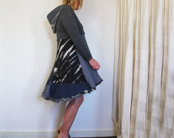 upcycled clothing . M - L . hooded dress . night rain