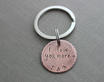 I love you more - Copper Hand Stamped Disc Keychain - Rustic Antiqued Style - Two initials - Gift for Groom - Wedding Day - Husband