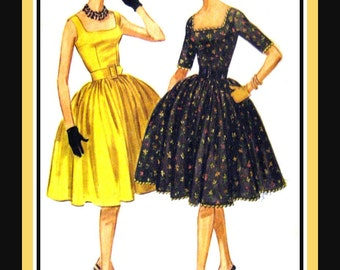 Vintage 1960-PARTY DRESS-Sewing Pattern-Two Styles-Square Neckline-Fitted Bodice-Gathered Circle Skirt-Attached Petticoat-Uncut-Size 16-Rare