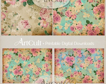 Printable SHABBY ROSES BACKGROUNDS Downloadable Digital Collage Sheets for Scrapbooking Paper Victorian Vintage Ephemera  by ArtCult