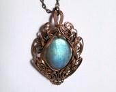 Labradorite and Copper pendant - Shiny Shield