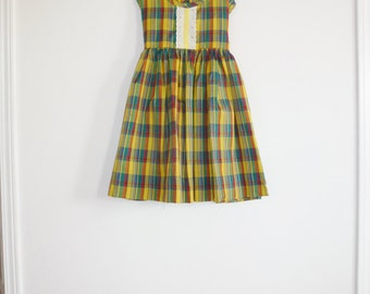 Vintage Yellow Plaid Girl's Dress