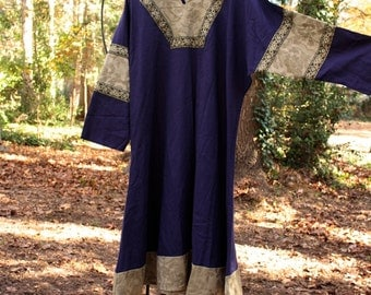 Men's Historical Tunic in navy blue linen, sage green brocade. olive green persian trim SCA Garb, LARP, game of thrones, LOTR, costume shirt