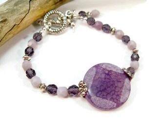 Purple Single Strand Bracelet, Amethyst Bracelet, Women's Bracelet, Gifts for Her