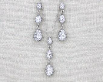 Crystal Bridal earrings, Wedding necklace set, Bridal jewelry set, Teardrop Wedding earrings, Necklace set, Sterling silver earrings