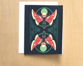 Mirrored Sphinxes - Psychedelic moth  A2 Blank Notecard