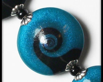 Wave... Handmade Polymer Clay Beads Set Turquoise Teal Aqua Black Silver Bead Caps Swirl Spiral Sparkle Jewelry Supplies Beach Ocean Sea