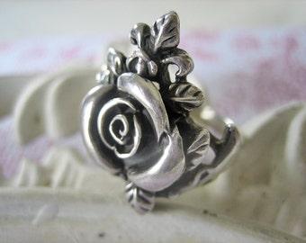Vintage rose ring, Sterling silver rose ring, flower ring, vintage flower ring, 925 sterling rose ring, French rose ring, 1960s rose ring