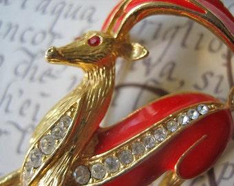 Vintage deer brooch, deer brooch, vintage deer, enameled deer brooch, rhinestone deer brooch, vintage antilope brooch, deer jewelry