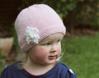 Baby Hat Knitting Pattern, Girls Hat Pattern, Baby Knit Download, PDF Knitting Pattern, Hat with Flower PDF, Easy Knit Baby Hat - AMELIA