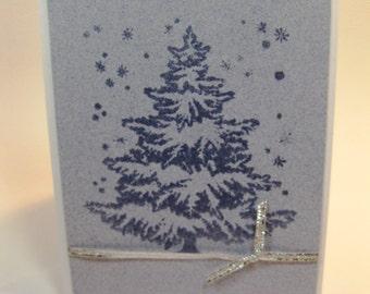Embossed Christmas Tree Card Set of 8 Handmade Stamped