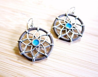 Dream Catcher Hand Painted Earrings Tribal Brown Turquoise Blue