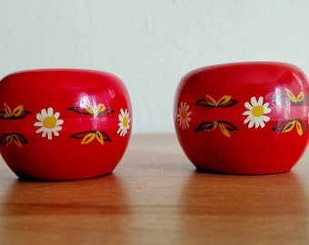 Vintage Danish | Red candleholder | Lyholmer | Denmark | half inch candle | Hand painted wood | Danish Modern Decor | Apple