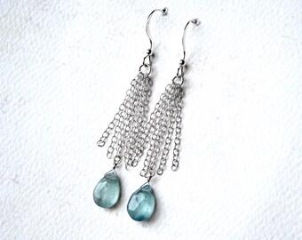 Fluorite Earrings, Teal Gemstone Earrings, Waterfall Sterling Silver Earrings - Waterfalls by CircesHouse on Etsy