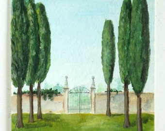 gate and cypresses italian landscape wall art original decor
