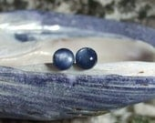 Blue Kyanite 6mm Round Titanium Studs Earrings Earings Hypo Allergenic Made in Newfoundland Throat Chakra