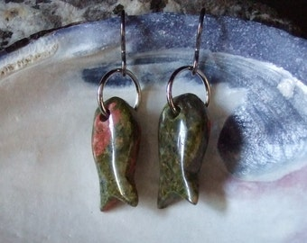 Unakite Carved Stone Fish Earrings on Titanium Ear Wires Made in Newfoundland Love Semi Precious Stone Pink Green Khaki Hypo Allergenic
