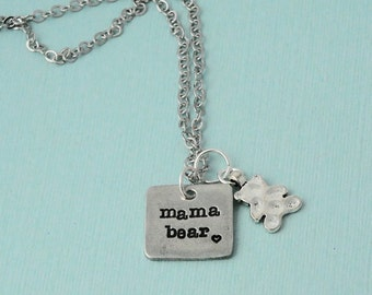 Mama Bear Necklace / Mama necklace / Mother bear necklace /Sterling silver filled chain