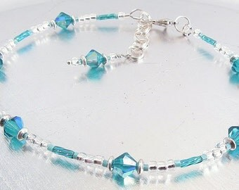 Blue Zircon Preciosa Crystal and Turquoise Glass Ankle Bracelet