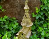 Handbuilt Ceramic St. Andrew's church in the river Vuoksa Nightlight Pond ornament Sculpture Gardener toad house woman's gift fairy castle