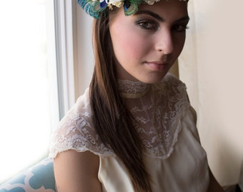 Bridal crown, peacock headpiece, bridal halo, bridal wreath, flower crown, boho bridal crown, - THEODOSIA