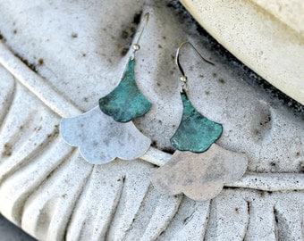 Aqua and Silver Leaf Dangle Earrings, Verdigris Patina, Bohemian Chandelier