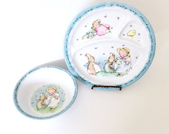 Vintage Charpente Baby Bunny Bowl and Divided Plate Plastic