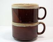 "Large Soup Mugs, Drip Glaze Japan, Brown Mugs, 2 Cup Size, 3"" High 5-1/2"" Wide, Brown Drinkware, Onion Soup Mugs, Stackable Mugs"